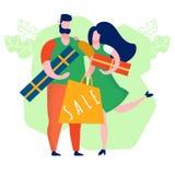 Couplez l'illustration de achat de vecteur de bande dessin?e de cadeaux illustration stock