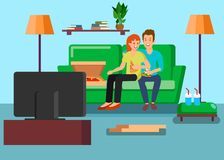 Couplez l'illustration de observation de vecteur de TV à la maison illustration libre de droits
