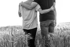 Couplez la marche ensemble dans un domaine de blé, effet de lumière du soleil, noir et blanc, effet de lumière du soleil Photos libres de droits