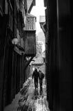 Couplez la marche par une allée sous la pluie Image libre de droits