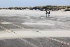 Couplez la marche sur la plage d'île d'Ameland, Hollande image stock