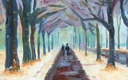 Couplez la marche sur le trottoir humide sous des arbres en hiver illustration de vecteur