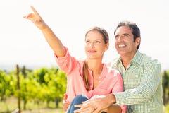 Couplez la position dans le vignoble et le pointage à la nature Images stock