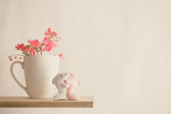Couplez le dauphin et la tasse blanche et l'Antigonon le d'amants Photo stock