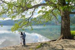 Couplez le support sous le grand arbre sur la plage regardant loin photo stock