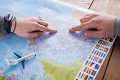 Couplez le voyage de planification au Canada, point sur la carte Photo stock