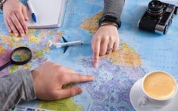 Couplez le voyage de planification au Canada, point sur la carte Photo libre de droits