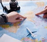 Couplez le voyage de planification aux Etats-Unis, point sur la carte Images libres de droits