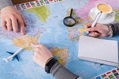 Couplez le voyage de planification aux Etats-Unis, point sur la carte Image libre de droits