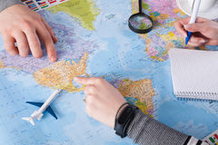Couplez le voyage de planification aux Etats-Unis, point sur la carte Images stock