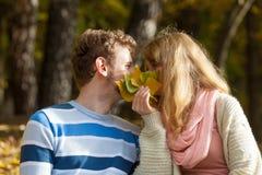 Couplez les baisers en parc d'automne se cachant derrière des feuilles Image libre de droits