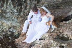 Couplez les jeunes mariés de nouveaux mariés avec le moment de chat, heureux et joyeux L'homme et la femme dans des vêtements de  Photos libres de droits
