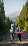 Couplez les randonneurs dans les montagnes de Carpathiens avec des sacs à dos Jeunes adultes Photo stock