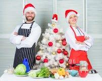 Couplez préparer un repas sain ensemble pour le dîner de Noël Chapeau de Santa de tablier de chef d'homme et de femme près d'arbr photo libre de droits