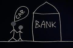 Couplez rechercher l'aide financière pour acheter une nouvelle voiture, allant encaisser, concept d'argent, peu commun Photo libre de droits