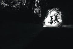 couplez sauter à la fin de tunnel avec des arbres Photographie stock