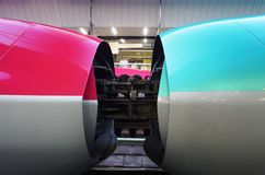 Coupling of a green Series E5 and a red Series E6 Shinkansen high-speed bullet trains Stock Photo