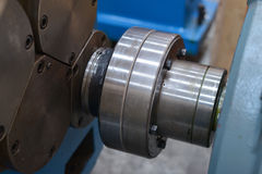 Coupling joint. A part of the mechanism used to drive the CNC machining royalty free stock photos