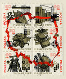 Coupling of postage stamps  Polska circa 1980 Royalty Free Stock Photos