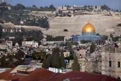 Coupole d'or de la mosquée d'Omar sur le temple MOIS Photo stock