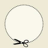 Coupon clipping. Dotted circle and scissors or shears indicating a cut line for clipping a coupon royalty free illustration