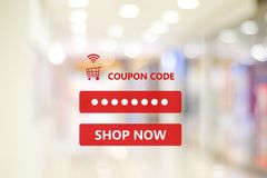 Coupon code on blur store background, web banner shopping on lin. E promotion, on line shopping, digital marketing, business and technology concept stock photos