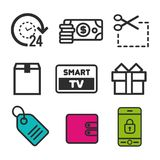 Coupon code icon. Smart TV symbol. Present box icon. Price tag sign. 24h open and Money bag icons. Eps10 Vector Stock Images