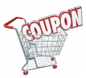 Coupon 3d Word Shopping Cart Spending Less Saving Sale Stock Photography