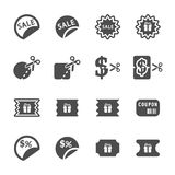Coupon and discount icon set, vector eps10 Stock Photo
