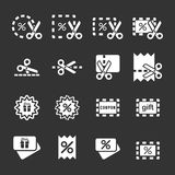 Coupon and discount icon set, vector eps10 Royalty Free Stock Photography