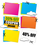 Coupon en Kortingsbanners Royalty-vrije Stock Foto