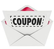 Coupon Envelope Cut Out Dotted Line Special Offer Sale. Coupon word with dotted line around it in an envelope for you to cut out and save at a sale or discount stock illustration