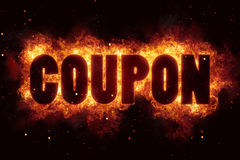 Coupon fire flames burn burning text explosion explode. Sale Stock Image