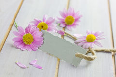 Coupon with flowers. Coupon with pink flowers on white table Stock Photo