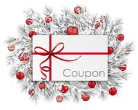 Frozen Twigs Coupon Thin Ribbon Snow Red Baubles Royalty Free Stock Photography