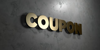Coupon - Gold sign mounted on glossy marble wall  - 3D rendered royalty free stock illustration Royalty Free Stock Photos