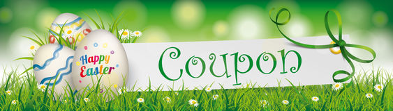 Coupon Happy Easter Egg Paper Banner Green Ribbon Header. Easter eggs with paper banner, green ribbon and text Coupon Royalty Free Stock Images