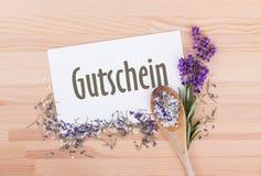 Coupon met rozemarijn en lavendel royalty-vrije stock afbeelding