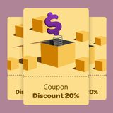 Coupon promotion with vector illustration flat design. Coupon promotion with vector illustration. Dollar jump suprise vector illustration