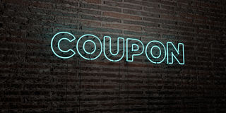 COUPON -Realistic Neon Sign on Brick Wall background - 3D rendered royalty free stock image Stock Image