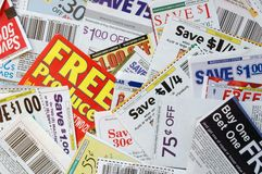Coupon savings. A bunch of coupons Stock Image