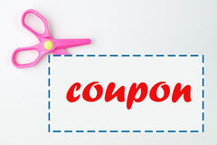 Coupon with scissor. And dotted line on white background Royalty Free Stock Image