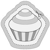 Coupon sticker with cupcake Stock Image