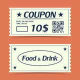 Coupon ticket card. Element template for design. Vector illustration Stock Images