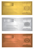 Coupon trio Gold Silver Bronze. Templates Royalty Free Stock Images