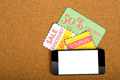 Coupon. Voucher for exchange and save your money concept Stock Images