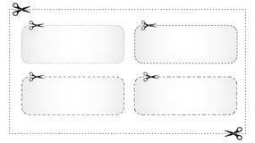 Coupons. Scissors cut marks, different dotted lines Royalty Free Illustration