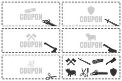 Coupons for cutting. Cut here symbol. Scissors and dotted line. Scissors with cut lines isolated on white background Stock Photos