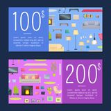 Coupons on 100 and 200 Dollars Vector Illustration. Coupons on 100 and 200 dollars, set of cards with text and images of carpets and pictures, sofas and lamps Royalty Free Stock Image