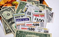 Coupons en dollars royalty-vrije stock afbeelding